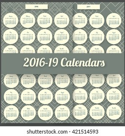 2016 Calendar template. Written by hand. 2017,2018,2019 years. Round flat mosaic design. pack with 4 bright and colourful calendars.