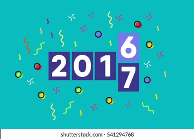 2016 changes to 2017. New year digital countdown timers. 2017 flipboard. Flat design. Vector illustration. eps 10