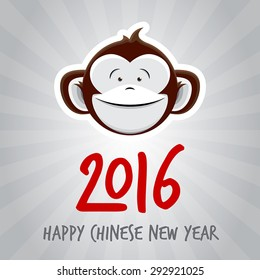 2016 Chinese New Year of the Monkey - Happy Chinese New Year Vector Design