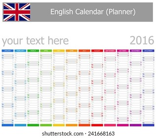 2016 English Planner Calendar with Vertical Months on white background