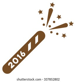 2016 Firecracker vector icon. Style is flat symbol, brown color, rounded angles, white background.