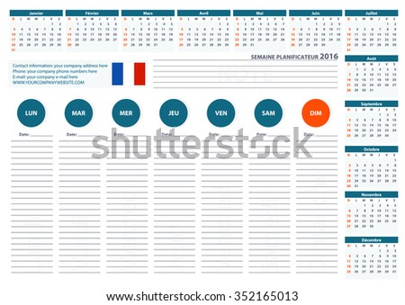 2016 french week planner calendar vector stock vector royalty free