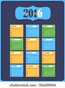 2016 Full Calendar Design. Promotion Poster Vector Template, Week Starts Friday