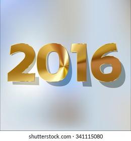 2016 gold digits 2016 gold digits on a light blue bokeh fog background.