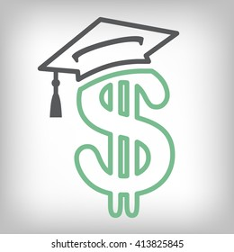 2016 Graduate Student Loan Icons - Crippling Student Loan Graphics for Education Financial Aid or Assistance, Government Loans, and Debt