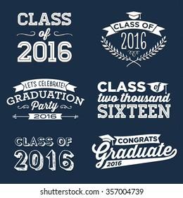 2016 Graduation Vector Set   Graduation Party, Congrats, Celebrate, High School / College Graduation Vector Set