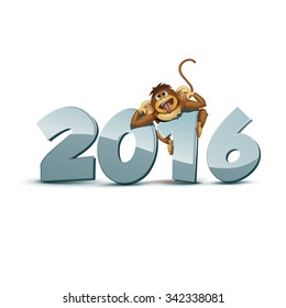 2016 Happy New Year of the Chinese Calendar Monkey Christmas Card Vector