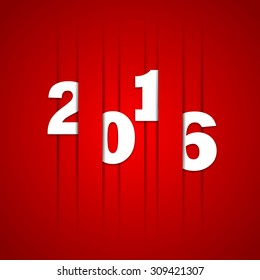 2016 Happy new year cut lines in paper, vector red color design