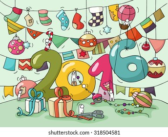 2016 Happy New Year Eve Greeting Card Cartoon Doodle Illustration With Liitle People Prepare To