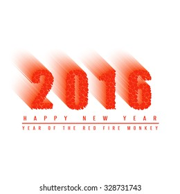 2016 happy new year text background of fiery ball, numbers of moving fiery circles, mockup card, poster or banner