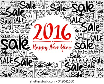 2016 Happy new year word cloud background, business concept