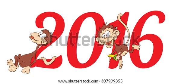 2016. Monkey.Symbol New Year Chinese Lunar Calendar. Numerals Isolated on White Background. Concepts Web Banner and Printed Materials.