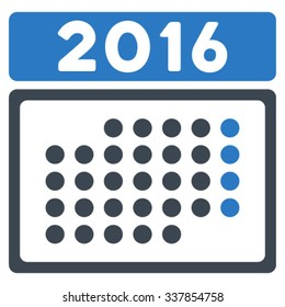 2016 Month Plan vector icon. Style is bicolor flat symbol, smooth blue colors, rounded angles, white background.
