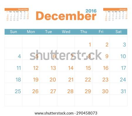 2016 monthly calendar planner december stock vector royalty free