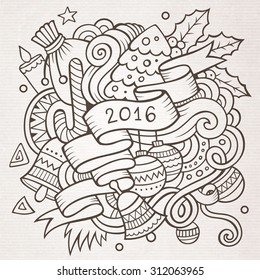 2016 New year doodles elements background. Vector sketchy illustration