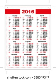2016 pocket calendar. First day Sunday. Vertical orientation days of week. Illustration in vector format