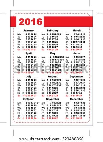 2016 Pocket Calendar Template Calendar Grid Stock Vector Royalty