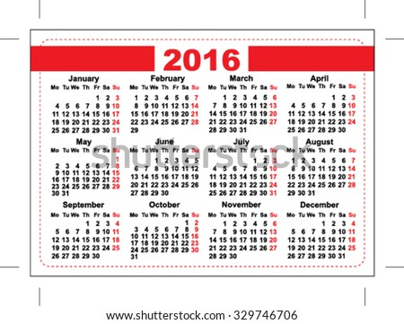 2016 Pocket Calendar Template Grid Horizontal Stock Vector Royalty