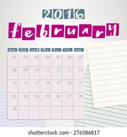 2016 Scrapbook Calendar : Vector Illustration