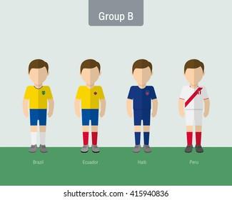 2016 soccer uniform group A. flat design.