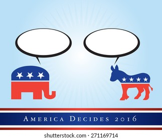 2016 USA presidential election poster or sticker, with space for text. Vector file available.