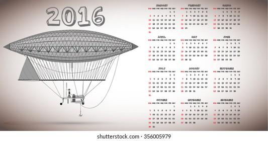 2016 vintage balloon calendar