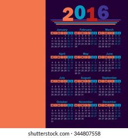 2016 year calendar english
