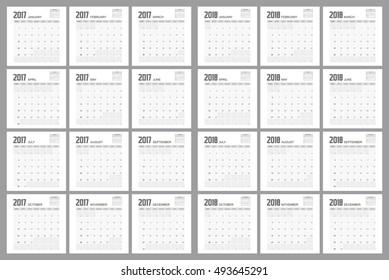 2017 2018 Calendar Planner Design.