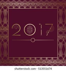 2017 Art Deco Template on maroon purple background