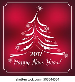 2017  Background for your Flyers and Greetings Card. Ideal to use for parties invitation. Merry Christmas and happy new year. Celebration. Abstract tree made of sparkles