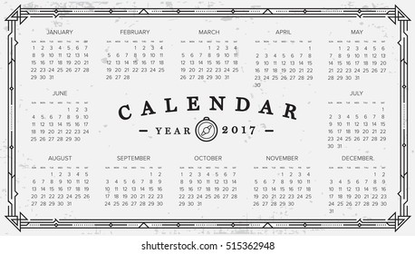 2017 Calendar. Abstract. Week Starts from Sunday. Vector illustration. Print Ready
