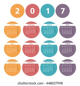 2017 Calendar in colored circles, vector eps10 illustration