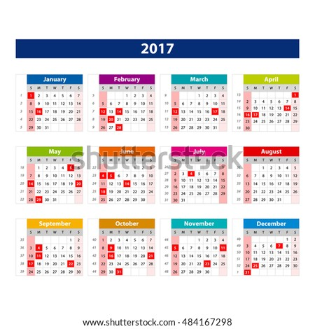 2017 Calendar Holidays Usa Illustration Vector Stock Vector Royalty
