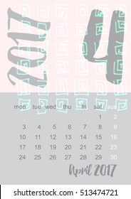 2017 Calendar planner in gray and pink colors Week starts on Monday. Scale A4 dimension. Vector illustration