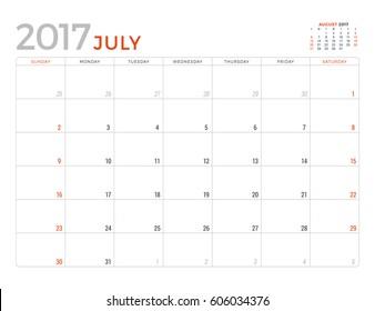 Mes De Julio Calendario.Calendario Mes Julio Sobre Mesa Stock Vectors Images