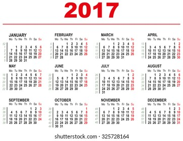 2017 Calendar template. Horizontal weeks. First day Monday. Illustration in vector format
