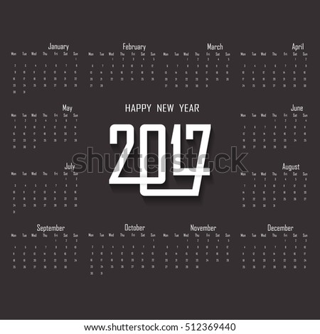 2017 calendar templatecalendar for 2017 yearvector design stationery templateweek starts