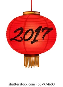 2017 Chinese New Year Vector Icon.Realistic Red lantern isolated on white background.