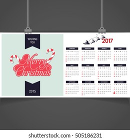 2017 Christmas calendar background images card. Christmas label decorative typography and label typography