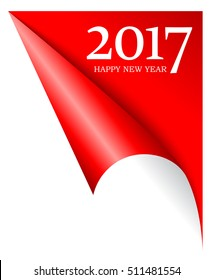 2017 coming new year page corner vector illustration. 2017 new year idea. Happy new year 2017 corner. Curled 2017 page corner, happy new year concept.
