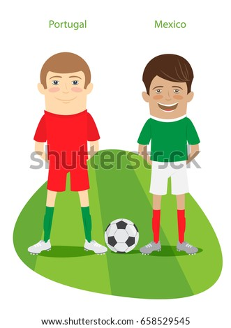 9b768bebf1f 2017 Cup: Mexico, Portugal team's uniform. Set of Funny football soccer  players characters