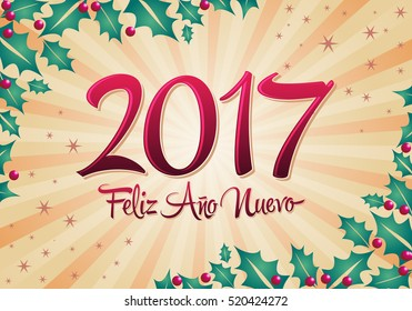 2017 Feliz Ano nuevo - 2017 happy new year spanish text vector lettering with holiday background
