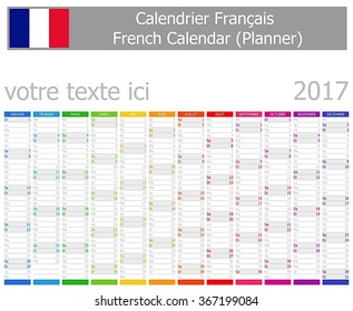 2017 French Planner Calendar with Vertical Months on white background