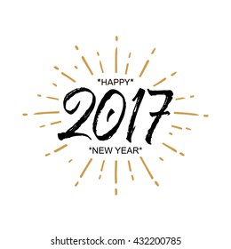 2017 happy new year beautiful greeting card calligraphy black text word gold fireworks hand