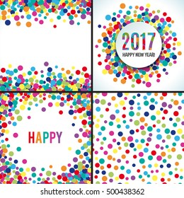 2017 Happy new year colorful vector background. Banner gretting template. Bright fun round confetti. Set of colorful card