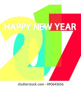 2017 Happy New Year, design template, vector illustration