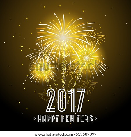 2017 happy new year fireworks night background happy new year celebration background banner vector
