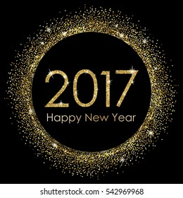 2017 Happy New Year gold glitter background