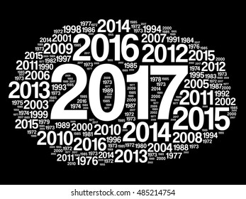 2017 Happy New Year and previous years word cloud collage