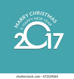 2017 Happy New year typography. Seasons greetings. merry christmas and happy new year turquoise background. Chinese New Year vector illustration